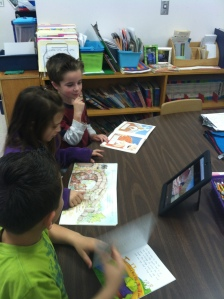 Grade 1 students compare and contrast version and a short video of the Three Billy Goats Gruff.