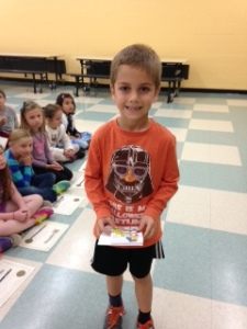 Samuel Lane, top reader Grade 1.  Samuel read 2,440 minutes this summer!