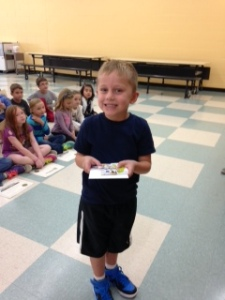 Adam Harrison, Kindergarten.  Adam was the only Kindergarten student to complete the Summer Reading Challenge!