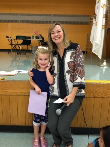 Mrs. Jolin with Emily Smith, our top Kindergarten reader who read 1200 minutes this summer!